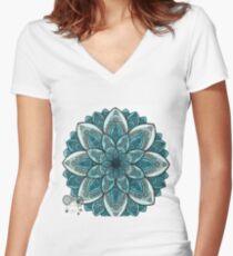 charakteristisches Mandala Tailliertes T-Shirt mit V-Ausschnitt