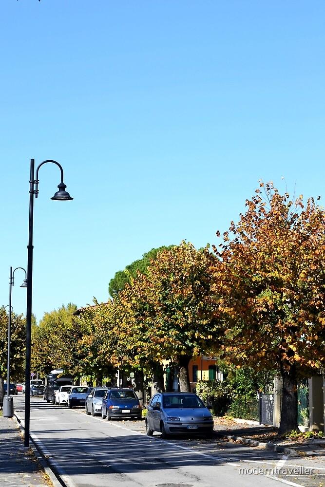 Autumn trees, Italian street by moderntraveller