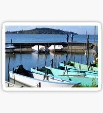 Boats beside Lake Trasimeno Sticker