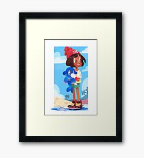 Popplio by the sea Framed Print