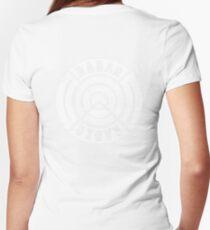 RADAR RADIO BACK PRINT / WHITE - GRIME Women's Fitted V-Neck T-Shirt