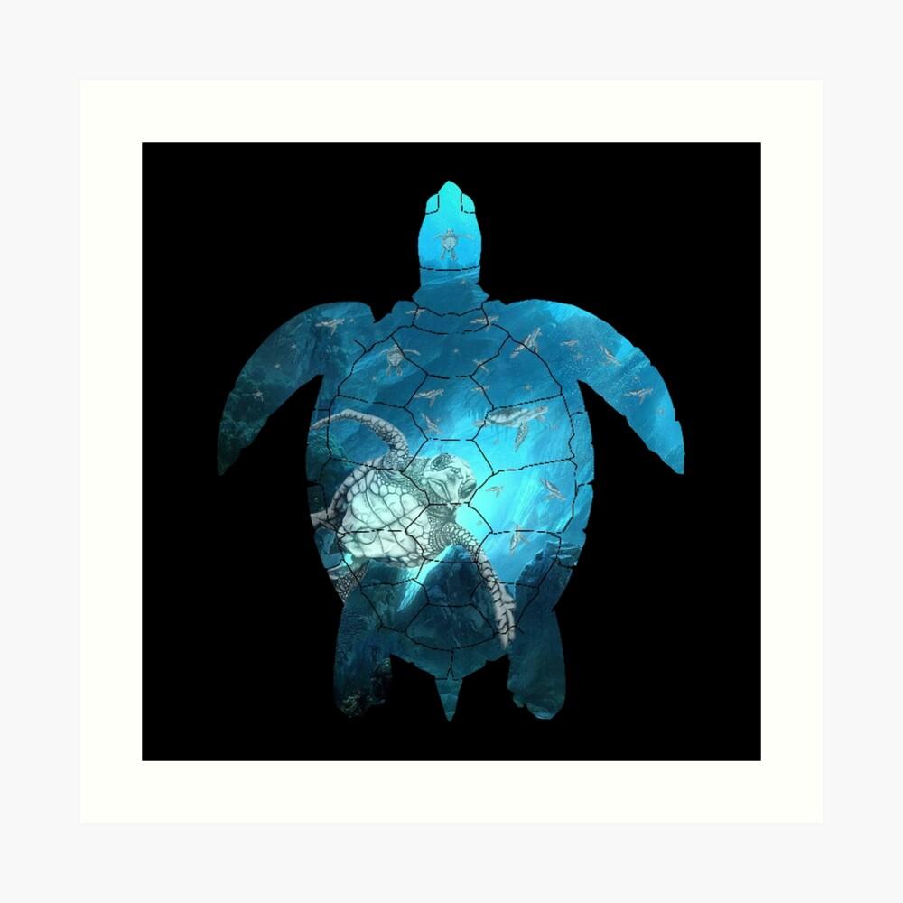 Meeresschildkröte - unter dem Meer Kunstdruck
