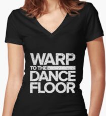 Warp to the Dance Floor (White) Women's Fitted V-Neck T-Shirt