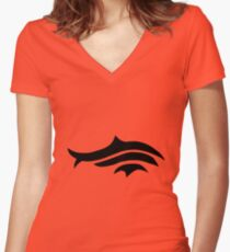 Tribal Fish minimalist design Women's Fitted V-Neck T-Shirt