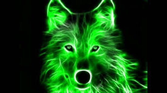 """An Amazing Neon Green Wolf On A Black Background"" Posters"