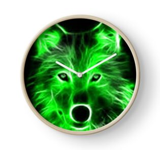 Quot An Amazing Neon Green Wolf On A Black Background Quot Posters