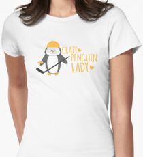 Crazy (ICE HOCKEY) Penguin Lady Womens Fitted T-Shirt