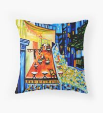 Cafe Terrace at Night Throw Pillow
