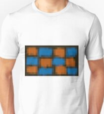 orange and blue pixel abstract with black background T-Shirt