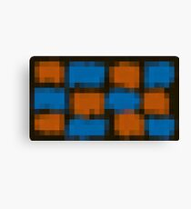 orange and blue pixel abstract with black background Canvas Print