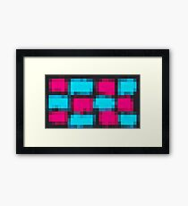 pink and blue pixel abstract with black background Framed Print