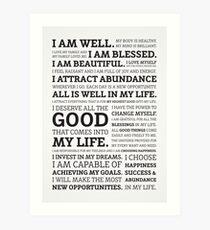 Positive Affirmations (Black on White/Grey) Art Print