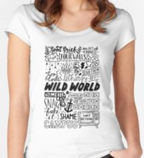 WILD WORLD - SONG TITLES (LIGHT) Women's Fitted Scoop T-Shirt