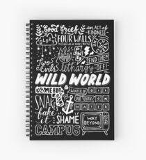 WILD WORLD - SONG TITLES (DARK) Spiral Notebook