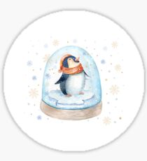 Penguin Snow Globe Sticker