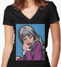 Silver Hair Crying Comic Girl Women's Fitted V-Neck T-Shirt