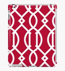 Red,white,trellis,modern,trendy,girly,decorative,pattern iPad Case/Skin