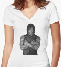 The Walking Dead - Daryl Dixon Profile Women's Fitted V-Neck T-Shirt