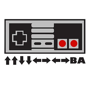 NES Nintendo Konami Code Up Up Down Down Left Right Left Right BA by radthreads