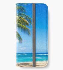 Palm trees on the sandy beach in Hawaii iPhone Flip-Case/Hülle/Klebefolie