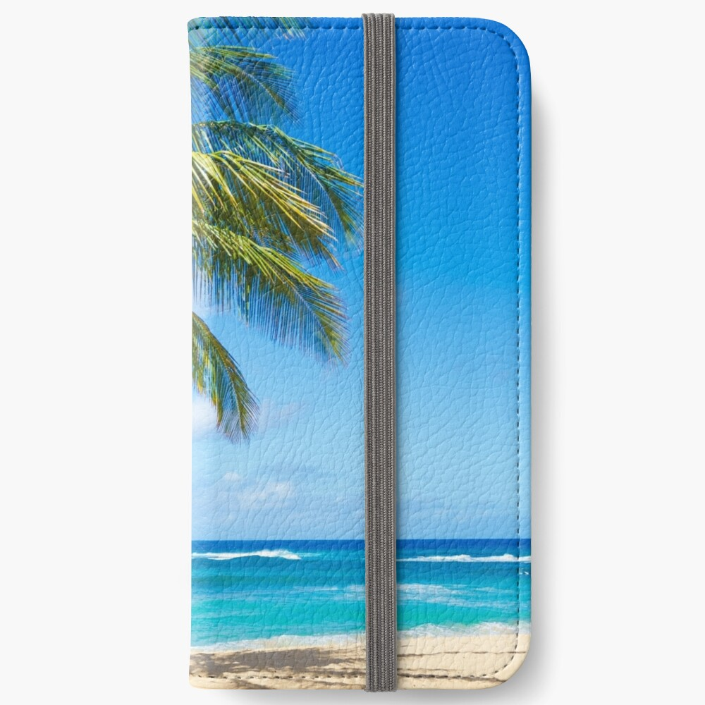 Palm trees on the sandy beach in Hawaii iPhone Flip-Case