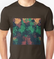 green brown orange and black circle abstract background Unisex T-Shirt