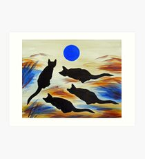 The Meows and Blue Art Print