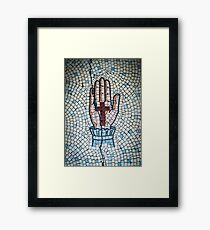 Ancient Mosaic Of A Hand And Crucifix Framed Print