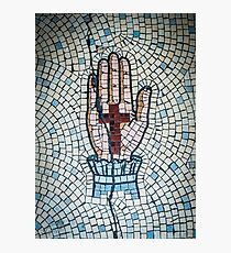 Ancient Mosaic Of A Hand And Crucifix Photographic Print