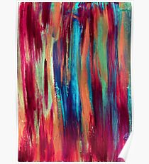 Abstract hand drawn background painted with acrylic and love Poster