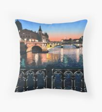 Original Painting: Pont d'Arcole, Paris, France. Throw Pillow