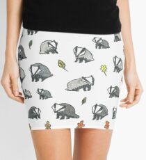 Badgers and Autumn Leaves Mini Skirt