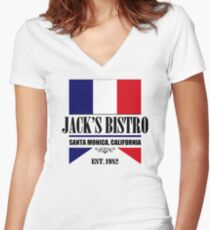 Jack's Bistro - Three's Company T-Shirt (Modern Re-Design) Women's Fitted V-Neck T-Shirt