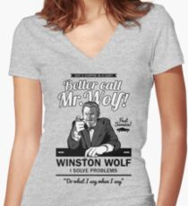 Better call Mr. Wolf Women's Fitted V-Neck T-Shirt