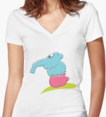 Funny blue elephant sitting on pink toilet Women's Fitted V-Neck T-Shirt