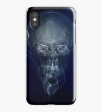Skull and smokes - blue version iPhone Case/Skin