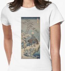 Two travelers, one on horseback - Hokusai Katsushika - 1890 Womens Fitted T-Shirt