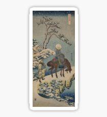 Two travelers, one on horseback - Hokusai Katsushika - 1890 Sticker