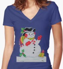 Let it SNOW man Women's Fitted V-Neck T-Shirt