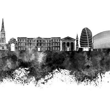 Leicester-Skyline im schwarzen Aquarell von paulrommer