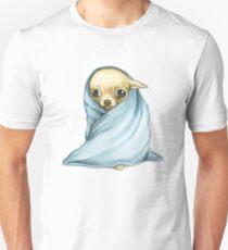 Camiseta unisex Chihuahua envuelto en una manta