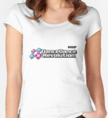 Dance Dance Revolution by Konami Women's Fitted Scoop T-Shirt