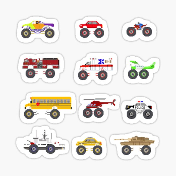 Monster Vehicles - The Kids' Picture Show - Pixel Art Sticker