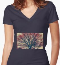 Beautiful tree Women's Fitted V-Neck T-Shirt