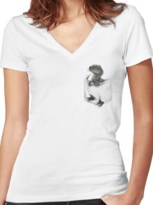 Pocket Protector - Blue Women's Fitted V-Neck T-Shirt