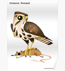 Common Buzzard caricature Poster