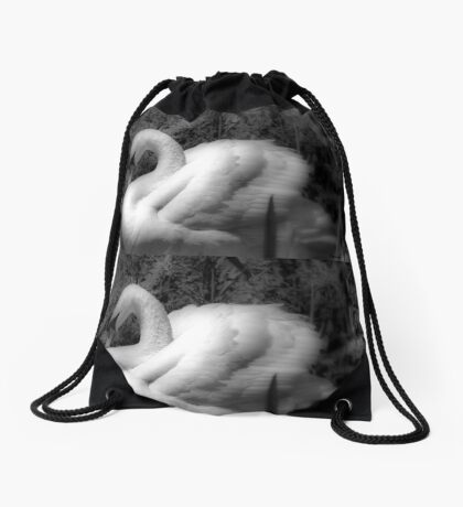 Portrait of a Swan Drawstring Bag