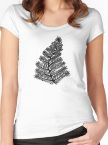 Fern Drawing - 2015 Women's Fitted Scoop T-Shirt