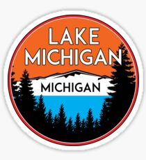 LAKE MICHIGAN BOATING FISHING ILLINOIS INDIANA WISCONSIN VINTAGE TRAVEL GREAT LAKES 3 Sticker