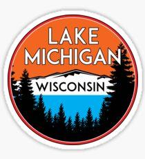 LAKE MICHIGAN BOATING FISHING ILLINOIS INDIANA WISCONSIN VINTAGE TRAVEL GREAT LAKES 4 Sticker